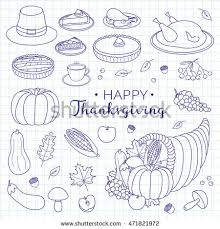outline items thanksgiving day stock vector 453811765