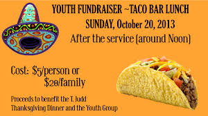 thanksgiving in church youth taco fundraiser church of the living god