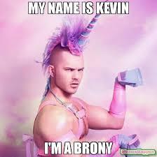 Name Of Memes - my name is kevin i m a brony meme unicorn man 56496 memeshappen