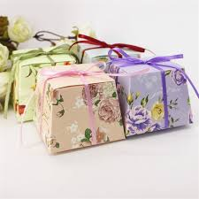 printed ribbons for favors 50pcs flower printed ribbon candy box birthday gift boxes wedding