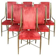 set of six mastercraft faux bamboo brass and velvet dining chairs
