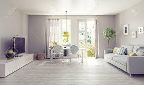 Concept Interior Design Modern Living Room Interior Design 3d Rendering Concept Stock