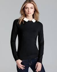 black sweater with white collar lyst milly sweater leather collar in gray