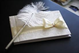 wedding guest book and pen wedding guest book with pen custom made in chagne ivory with