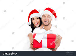 christmas holiday happy couple hold present stock photo 119429470