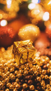 christmas presents wallpapers tiny gold christmas gift mobile wallpaper phone background