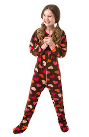 infant toddler chocolate brown w hearts fleece pajamas big