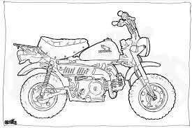 honda z50 minibike colouring page motorcycle illustration