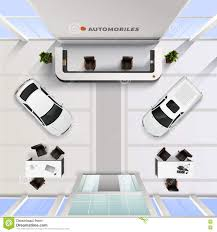 top view office interior of automobile salon stock vector image