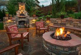 outdoor living area kitchen fire pit paver patio hardscape