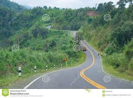 beautiful road 1081 in nan province of thailand stock photo