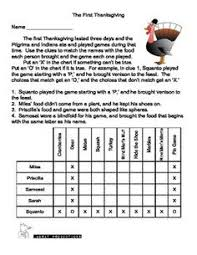 Logic Puzzles For Kids      Thanksgiving Lunch Feast   Critical     webege com