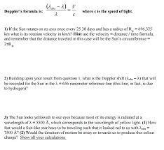 What Is The Speed Of Light Doppler U0027s Formula Is Lambda Obs Lambda Lambda Chegg Com