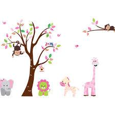 amazon com jungle zoo animal girafee elephant lion zebra and cartoon cute monkeys big trees removable wall stickers home decor decals for children s room nursery