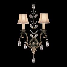 Wall Sconce Half Shades Fascinating Crystal Wall Sconces Half Drum Shades With Gold