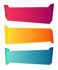 decorative ribbons curved color paper banners isolated on white background
