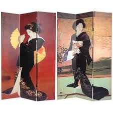 Japanese Room Dividers by Oriental Furniture 6 Ft Tall Double Sided Japanese Ladies Canvas