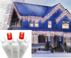 set of 70 pure white and red led icicle christmas lights white