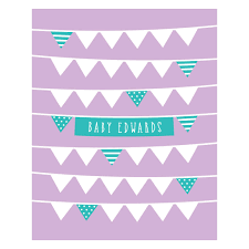 bunting personalised baby shower guest book print by bird u0026 key