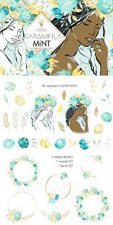 wedding flowers clipart mint gold wedding flowers clipart illustrations creative market