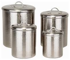 canister kitchen set 4 hammered brushed nickel canister set transitional
