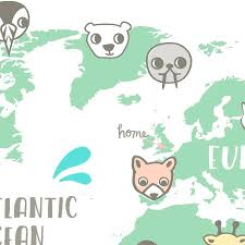 Animal World Map by Personalised New Baby Or Kids World Map Print By Small Dots