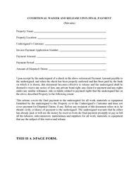 lien release forms nevada conditional waiver and release of lien