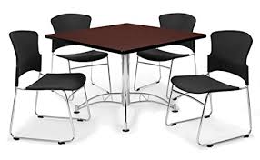 Break Room Table And Chairs by Amazon Com Ofm Pkg Brk 09 0010 Breakroom Package Mahogany Table