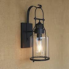Lantern Wall Sconce Ruanpu Industrial Glass Rustic Antique Loft Style Metal Lantern