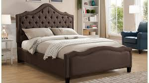 tufted platform bed with adjustable head board height in brown