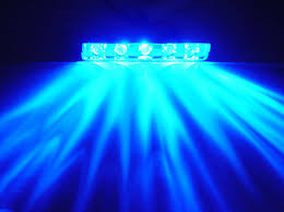 blue 5 led step light chrome