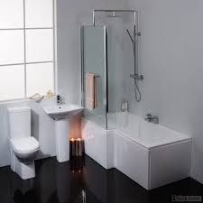 modern left hand l shaped square shower bath fixed screen suite