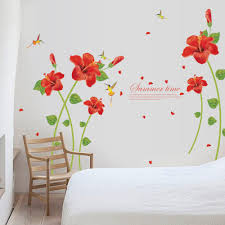 online get cheap poppy wall decals aliexpress com alibaba group red poppy flower wall stickers removable decal home decor diy art decoration new arrival high quality
