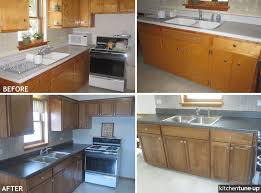 the 1950s are over refacing with birch cabinets with a dawn