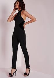 high neck jumpsuit lyst missguided mesh insert high neck jumpsuit black in black