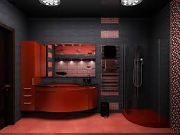 club atmosphere red and black charming bathroom interior design