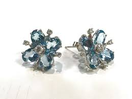 aquamarine earrings diamond and aquamarine earrings design with consignment llc