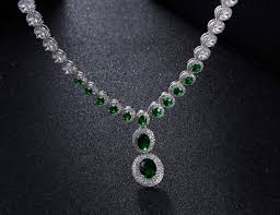 zircon necklace sets images Green crystal jewellery set cubic zircon gold necklace sets 4pcs jpg