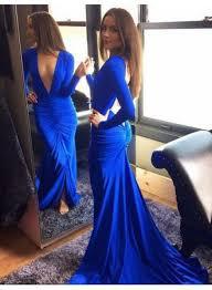 royal blue deep v neck prom dress 2017 mermaid long sleeve
