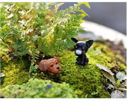 Garden Decor Accessories 2pcs Mini Dog Micro Landscape Diy Craft Miniature Fairy Garden