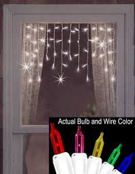 Multi Color Icicle Lights Set Of 50 Twinkling U0026 Shimmering Multi Window Curtain Icicle