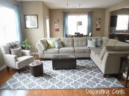 Family Room Gray Trellis Rug Sectional Blue Accents Family - Family room rug