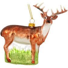 whitetail deer glass ornament animal animal birds flowers