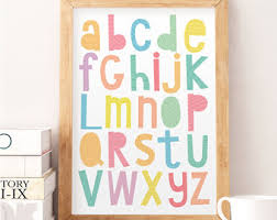 Alphabet Wall Art Etsy - Alphabet wall decals for kids rooms