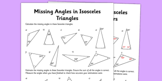 finding missing angles in triangles worksheet calculating angles of isosceles triangles activity sheet