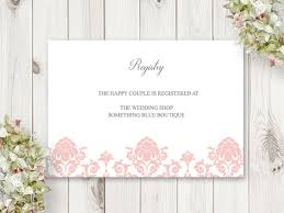 diy wedding registry printable wedding registry card floral damask
