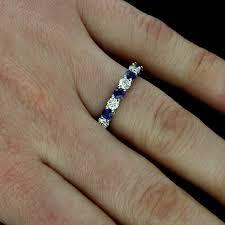 platinum art deco diamond sapphire eternity wedding band 3 8mm