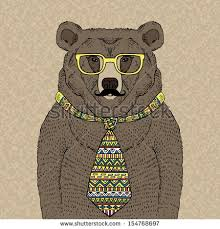 hand drawn illustration hipster bear tie glasses