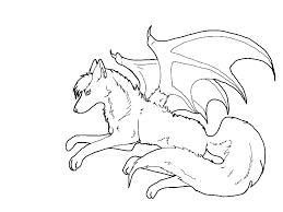 coloring page of a bat winged wolf coloring pages getcoloringpages com