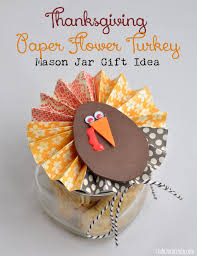 thanksgiving paper flower turkey jar gift idea dress up a